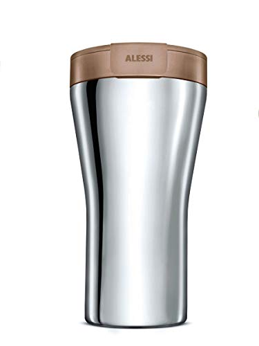Alessi GIA24 BR Travel Mug, Stainless Steel, braun