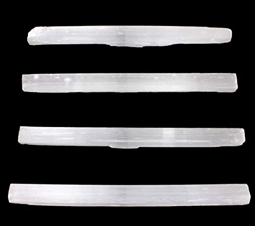 Dancing Bear Selenite (4) Large Sticks, Approx. 6-8&Quot; Long Wands Plus Free Fluorite Octrahedron Crystal And Educational Id Cards For Wholesale, Bulk, Reiki, Chakra, Healing, Good Luck, And Protection