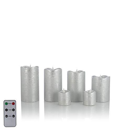6 LED Echtwachskerzen mit täuschend echter Flamme & Docht, Fernbedienung und Timer (6er Silber Metallic)