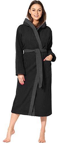 Ladeheid Peignoir de Bain Éponge 100% Coton Femme LA40-191 (Noir-30/Gris Foncé-12, L)