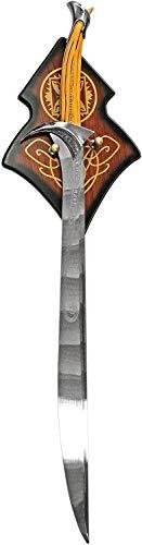 KS-11 Filmschwert Thorin Eichenschild - Schwert Der Hobbit - Orkrist - Dekoschwert mit Wandhalterung aus Holz, Silber Gold