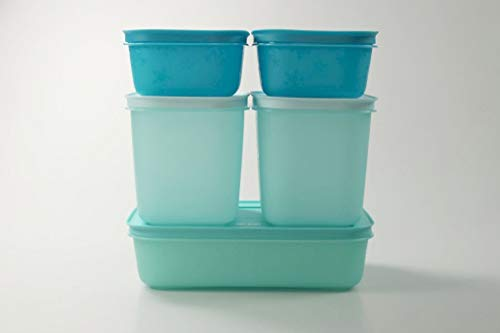 Tupperware Caja de Congelación de 1,0 L + 1,1 L (2) + 450 ml (2) Turquesa 36767