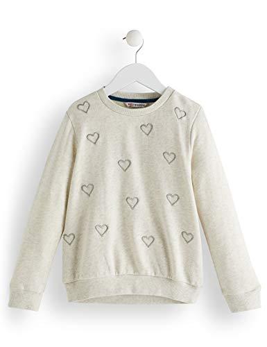 RED WAGON RED WAGON Mädchen Heart Embroidered Sweatshirt, Elfenbein (Oatmeal), 104 (Herstellergröße: 4)