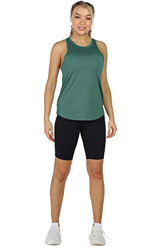 icyzone Women's Racerback Workout Tank Tops - Athletic Yoga Tops, Running Exercise Gym Shirts (Pack of 3) (M, Charcoal/Jade/Hot Pink)