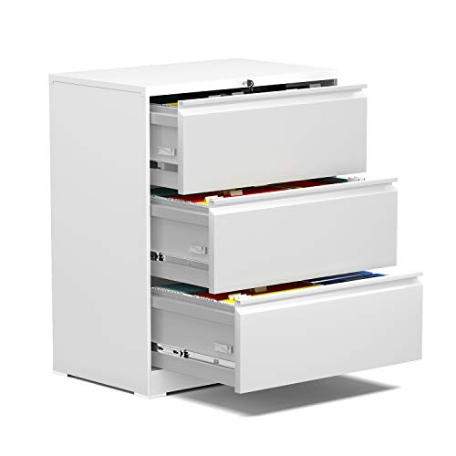 AOBABO 3 Drawer Metal Lateral File Storage Cabinet, Filing Cabinet with Lock Letter/Legal Size 28.25'' W,Fast Assemble Anti-tilt Structure Cabinet for Home and Office,Assembly Required (White)