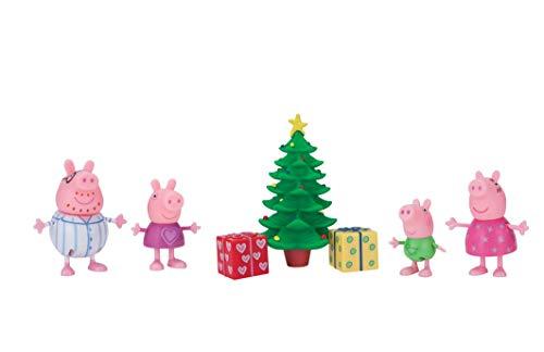Peppa Pig Wutz 95648 Spielset Weihnachtsabend 4 Exklusive bewegliche Figuren mit Weihnachtsbaum für Kinder ab 2 Jahren Jazwares