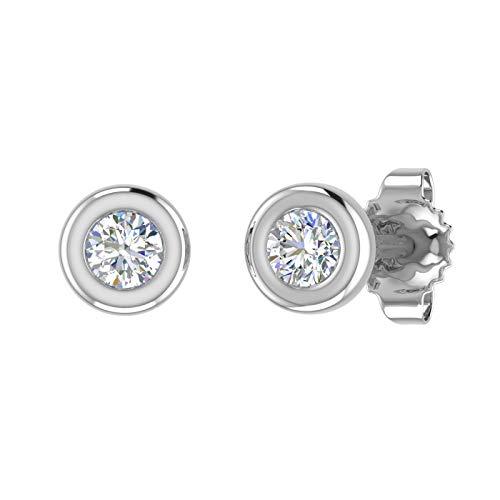 10K White Gold Bezel Set Round Diamond Stud Earrings (1/10 Carat) (0.1 Ct Diamond Bezel)