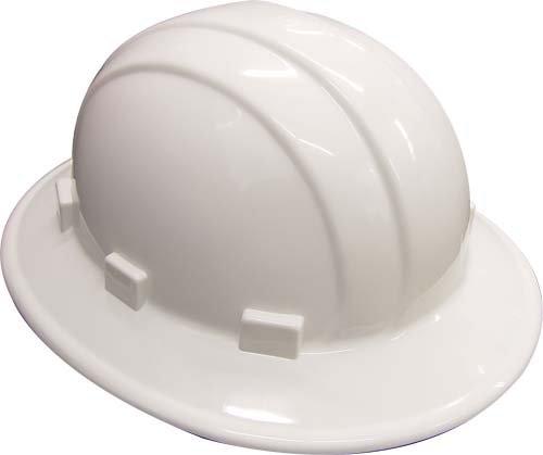 Erb 19911 Schutzhelm mit breitem Rand, mit Ratschenverstellung, Weiß