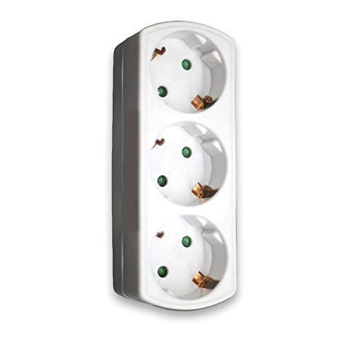 Steckdose Praktisch, Kellegour 1 Stücke Steckdosenadapter, Triple Socket, 3 Löcher Steckdosen, für Die Home Office (Weiß)