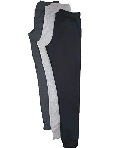 kit 3 calças moletom feminino flanelado skinny esporte (preto, cinza mescla e cinza grafite, m)