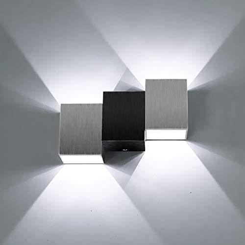 LIGHTESS Apliques de Pared Lámpara de Pared en Moda de Puro Aluminio 2 LED 6W, Iluminación de Pasillo, Entrada, Dormitorio, Blanco Frío