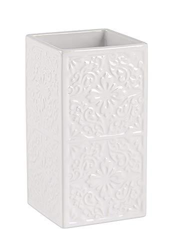 Wenko Cordoba Vaso para Cepillos de Dientes, Cerámica, Blanco, 6.5x6.5x12 cm