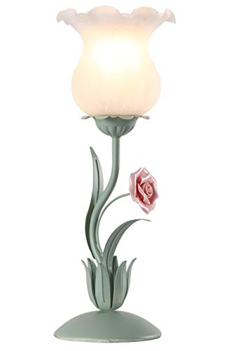 Florentiner Tischleuchte landhausstil Florale Nachttischlampe Grün Handgemachte Keramik Rose Blumen Blätter Glas Schirm Tischlampe, Schreibtischlampe, Wohnzimmerlampe Gartendekoration Lampe