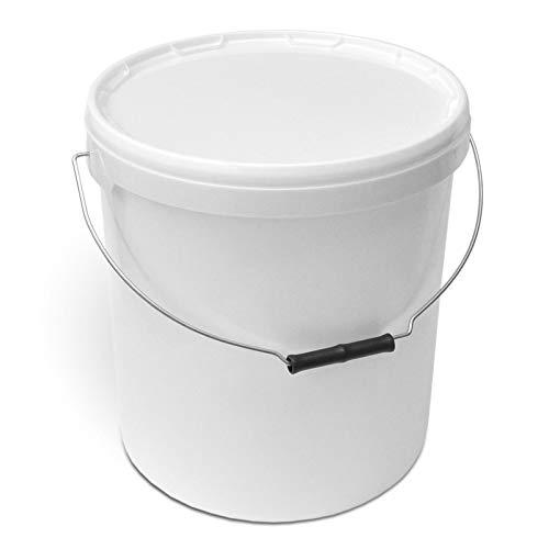 Secchio in plastica, 20 litri, bianco traffico, con coperchio