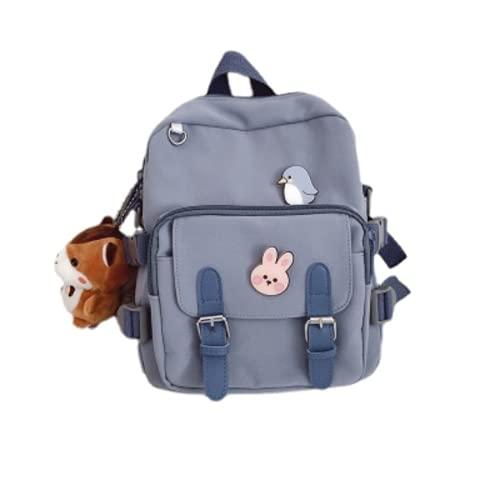 Mini mochilas lindas con alfileres Kawaii Mini mochila para adolescentes Kawaii pequeña mochila, Azul / Patchwork, 9''(L)*3.1''(W)*10.6''(H)