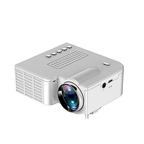 C- Proyector de Video portátil Home Theater Cinema Office Mini LCD Proyector Reproductor Multimedia Compatible con Notebook/Disco Duro móvil/Set-Top Box/Laptop/DVD/Juegos,Blanco