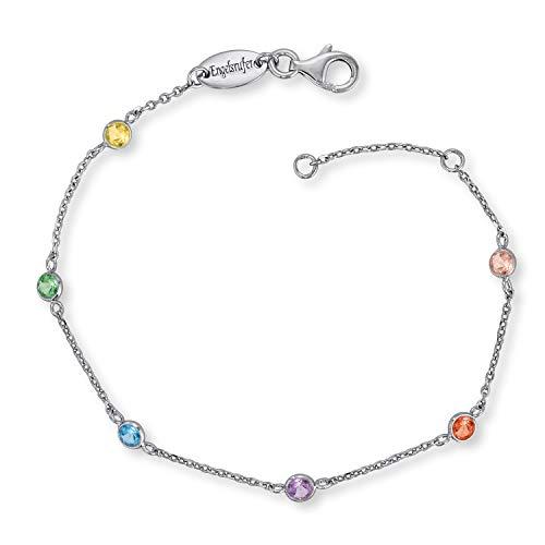 Engelsrufer farbige Damen Armbänder Moonlight, Multicolor mit Zirkonia Edelsteinen aus 925 Sterlingsilber, funkelndes glitzer Silber Armband vergoldet