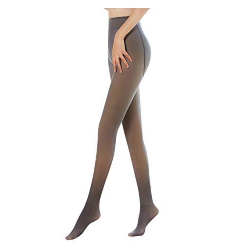 NMSLCNM Damen Strumpfhosen Plüschstrümpfe Perfekt Beine abnehmen Gefälschte durchscheinend Warm Fleece Pantyhose -wärmende Thermostrumpfhose für Damen, verdickte Leggings