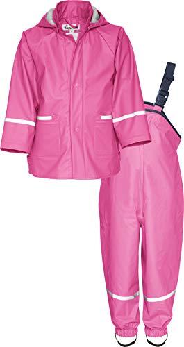 Playshoes Regen-Set Basic Chaqueta y Pantalones Impermeables, rosa, 98 cm para Niñas