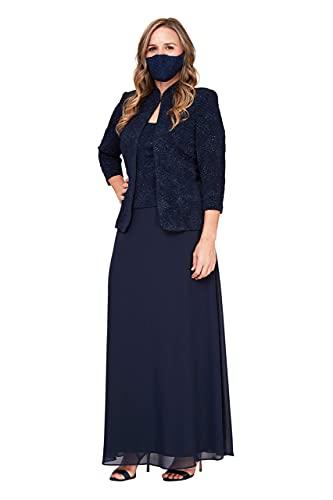 Alex Evenings Women's Plus Size Long Dress with Mandarin Neckline Jacket, Navy, 24W