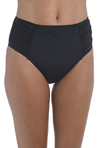 La Blanca Women's Standard Island Goddess High Waist Pant Bikini Swimsuit Bottom, Black, 4