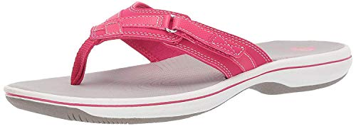 Clarks Women's Breeze Sea Flip-Flop, bright rose synthetic, 8 M US