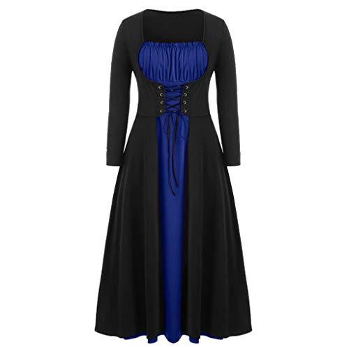Lazzboy Halloween Kostüm Damen Frauen Langarm Bandage O-Neck Pachwork Solid Neuheit Kleid Spitze Bluse Tunika Gothic Hexe Cosplay Oberteil(Blau,L)