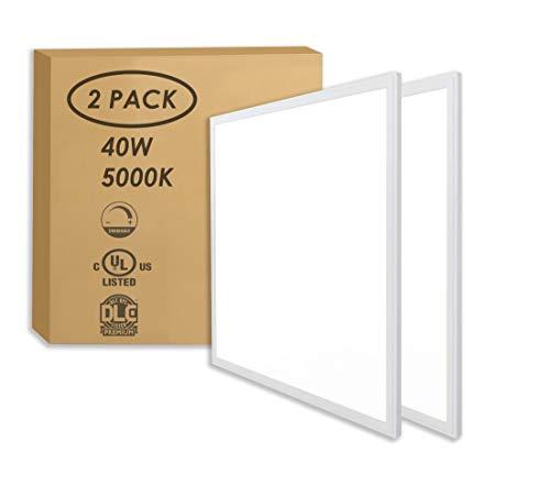 LED FANTASY 2x2 FT Edge Lit LED Panel Dimmable 0-10V, 40W (140W Equivalent), 5000K Daylight White,DLC & UL 2 Pack