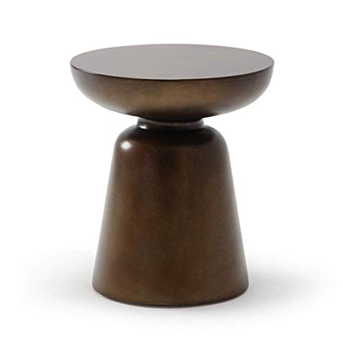 WALNUTA Mesa de café, Principal Redonda de Bronce caótico Esquina Mesa de embutido Simple Brown Post-Moderna