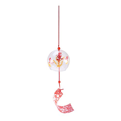 VALICLUD Campana japonesa de cristal con campana de viento con diseño de peces rojos para patio, jardín, decoración para colgar en la casa