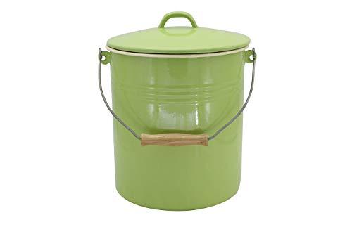 Mülleimer Juist mit Deckel emailliert, grün, 10 Liter