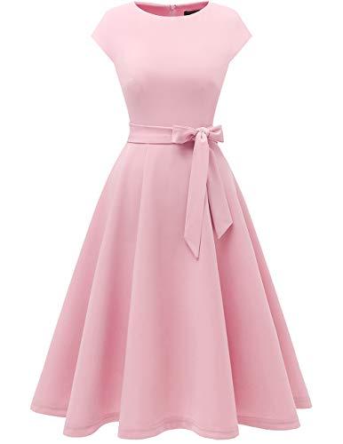 DRESSTELLS Damen Rosa Kleid 1950er Vintage Retro Rockabilly Kleid Damen elegant Hochzeit Cocktailkleid Pink L