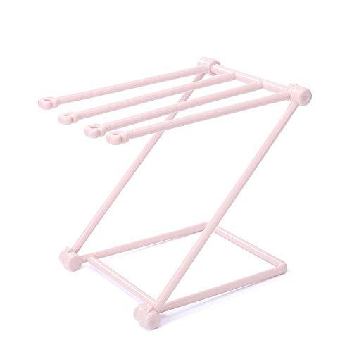 ZHIRUI Toalla RackBathroom Toallero Titular Punch-Libre Vertical Plegable Estante De Paño De Plástico Pantalla Percha De La Toalla De Mano Estante De Toalla China Rosa