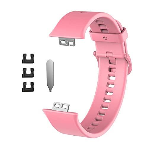AFAY Correa De Reloj Correa de reemplazo de Goma Compatible con Huawei Watch Fit Band Sport Smart Impermeable Wrist Wamkband Pulsera Accesorios Nylon (Band Color : Pink)