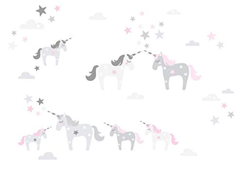 lovely label Wandsticker selbstklebend Einhorn ROSA/GRAU - Wandaufkleber Kinderzimmer/Babyzimmer mit Einhörnern - Wandtattoo Schlafzimmer Mädchen & Junge, Wanddeko Baby/Kinder
