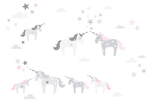lovely label Wandsticker selbstklebend EINHORN ROSA/GRAU - Wandaufkleber Kinderzimmer/Babyzimmer mit Einhörnern - Wandtattoo Schlafzimmer...