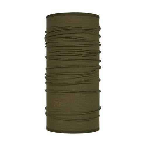 Buff Lightweight Merino Wool Multifunktionstuch Solid Bark Olive grÃŒn