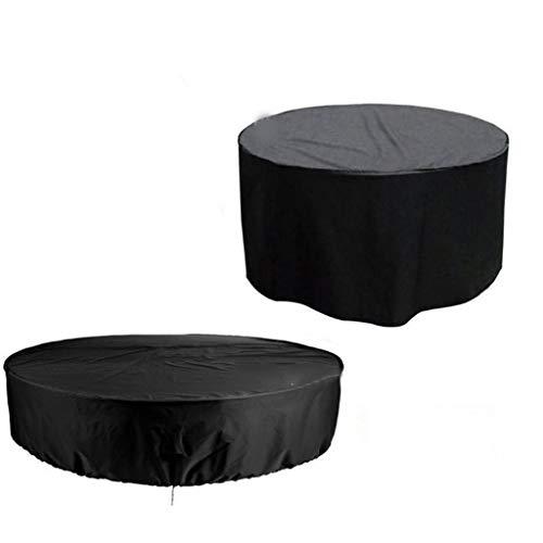 DONGZHI Jardín Mueble Cubiertas, Al Aire Libre Mueble Cubrir Impermeable A Prueba de Polvo Redondo Oxford Paño Mesa Cubiertas Polvo Prueba Cubrir (Color : Black, Size : 225x95CM)