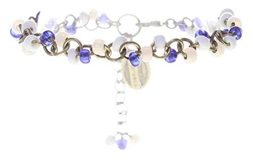Konplott: Armband Massai Goes Fishing white-blue, tolles modisches Gipsy-Armband mit weiß-blauen-Glasperlen, für Damen/Frauen