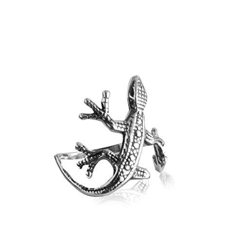Damen Ring Gecko Echse Eidechse Lizard 925 Sterling Silber Silberring Schmuckring #2256 (60 (19.1))