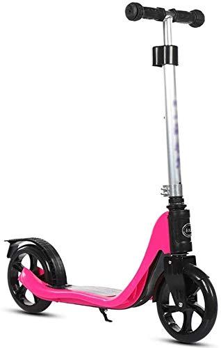 LYC Patinetes para adultos y adolescentes y niños; Patinete de altura ajustable con ruedas grandes de poliuretano, no eléctrico, capacidad de 100 kg (color rojo rosa)