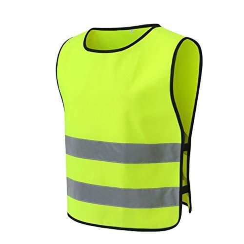 La seguridad Chaleco reflectante de noche Chaleco de seguridad Fluorescente Ropa protectora Funcionamiento nocturno Equitación Abrigo de construcción Ligero (Color : Yellow, tamaño : XL)