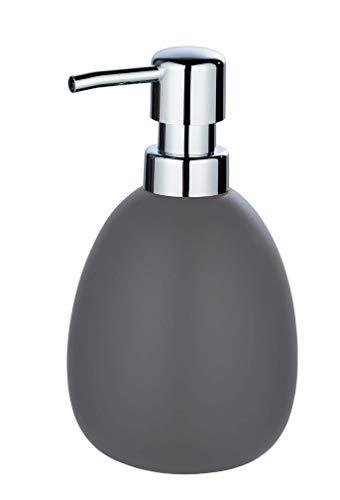 WENKO Seifenspender Polaris Grau matt - Flüssigseifen-Spender, Spülmittel-Spender Fassungsvermögen: 0.39 l, Keramik, 9.5 x 16 x 9 cm, Grau