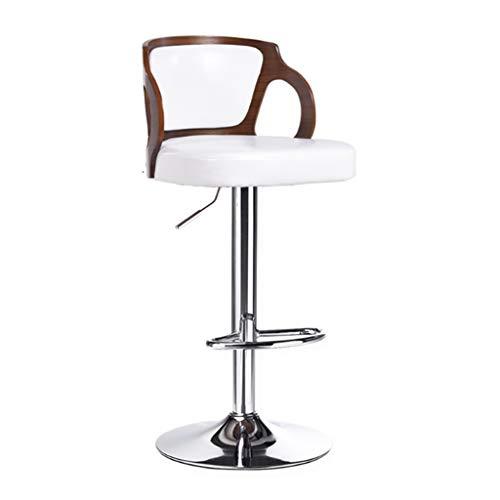 Sgabelli da Bar Sgabello Bar Sgabelli da Bar, sollevabile e Girevole for sgabelli da Cucina, sedie Regolabili in Altezza, Schienale e poggiapiedi Imbottiti curvi, 60-80 cm (Color : White)