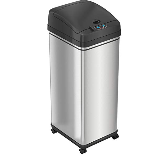 iTouchless Pet-Proof 13 Gallon Sensor Kitchen Trash Can with AbsorbX Odor Filter and Wheels, Stainless Steel Mess-Free Garbage Bin, Powered by Batteries (not Included) or AC Adapter (Sold Separately)