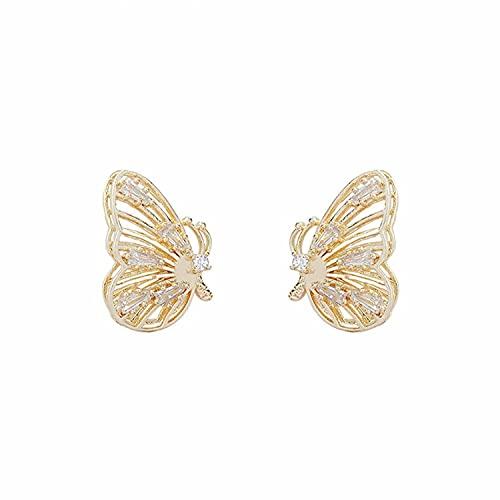 Retro Diamantes Circón Exquisitos Pendientes tridimensionales Alas de Mariposa Pendientes Huecos...