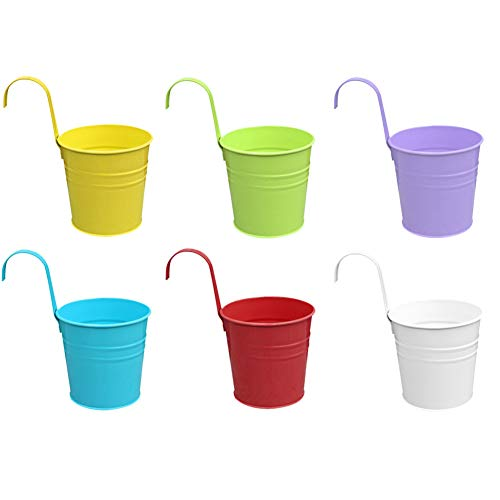 6pcs secchiello per fiori in metallo fioriere sospese vasi da fiori appesi secchi da appendere vasi da fiori da appendere in ferro con manico staccabile e foro di drenaggio per ringhiera da giardino