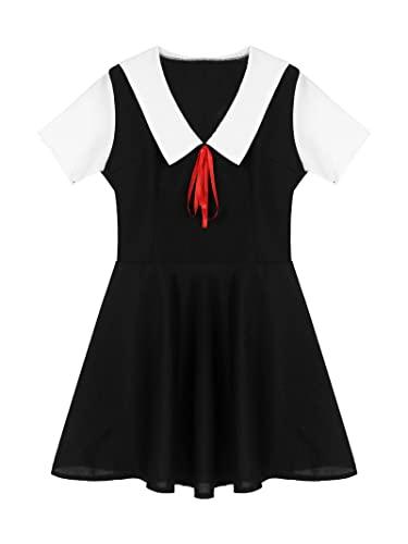 NC - Vestidos de moda para mujer, lencería, cuello marinero, manga corta, vestido acampanado para colegiala cosplay disfraz de Halloween