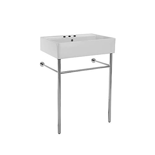 Scarabeo 8031/R-60-CON-Three Hole Teorema Rectangular Ceramic Console Sink and Polished Chrome Stand, White