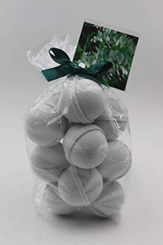 Spa Pure Eucalyptus Bath Bombs: Eucalyptus & Spearmint Bath Bomb Fizzies - 14 per Bag - with Shea Butter, Ultra Moisturizing - Great for Dry Skin